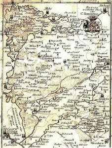 Karte des Komitats Torontal um 1800, auf der die auf dem Territorium der Csekonics'schen Herrschaft sich befindlichen Ortschaften Haczfeld und Czernya sowie die beiden Prädien Bozitova und Csesztereg eingezeichnet sind.