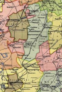 Karte des Komitats Torontal um 1910 (Auszug). Das Csekonics'sche Gut lag in den Stuhlbezirken Hatzfeld und Großbetschkerek und erstreckte sich südlich von Hatzfeld in Richtung des Komitatssitzes Großbetschkerek auf einer Länge von 38 und einer Breite von 2-5 Kilometern.
